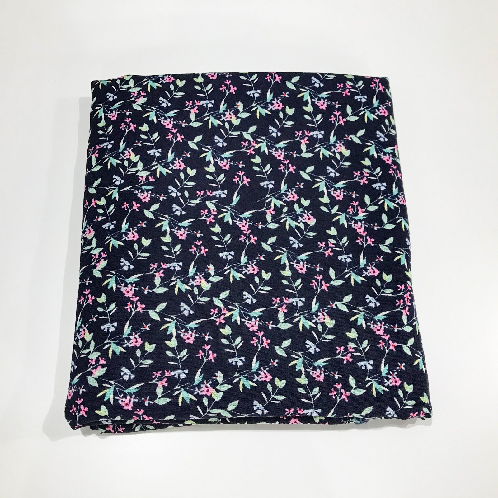2 1/4 yard - Rayon Crepe - Small Blue Bachelor Buttons and Pink Flowers on Navy
