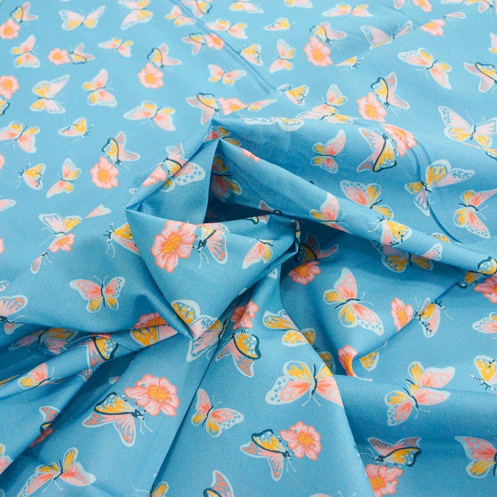 Organic Cotton Lawn - Aflutter Butterflies on Blue