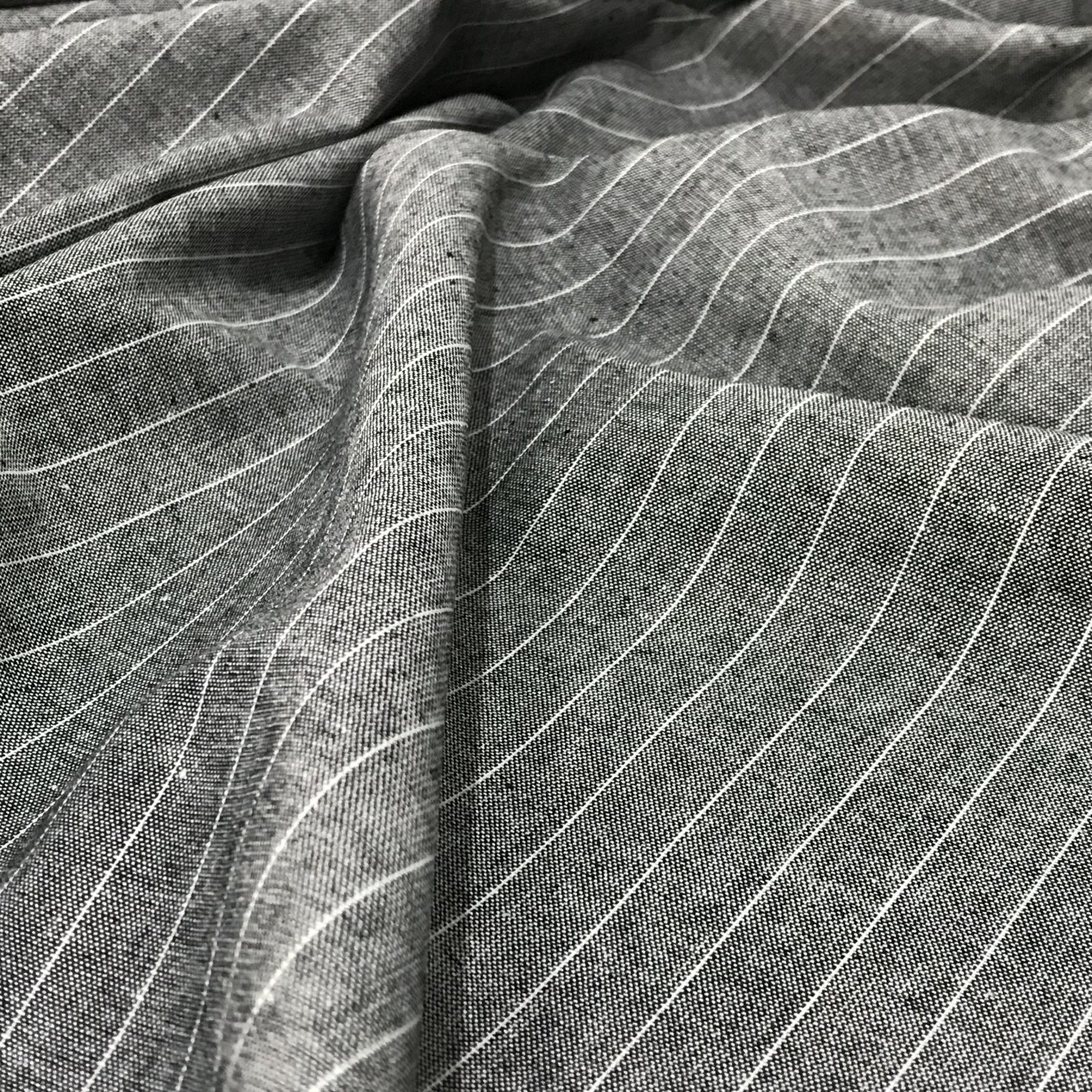 Cotton - Black Chambray Stripe