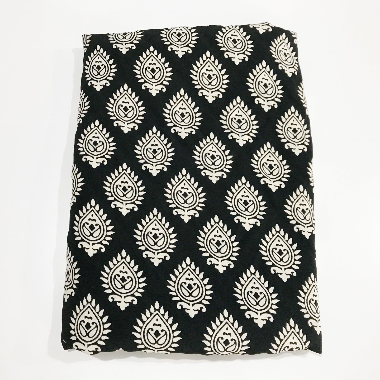 5 1/2 yards - Rayon Crepe - Black Medallions