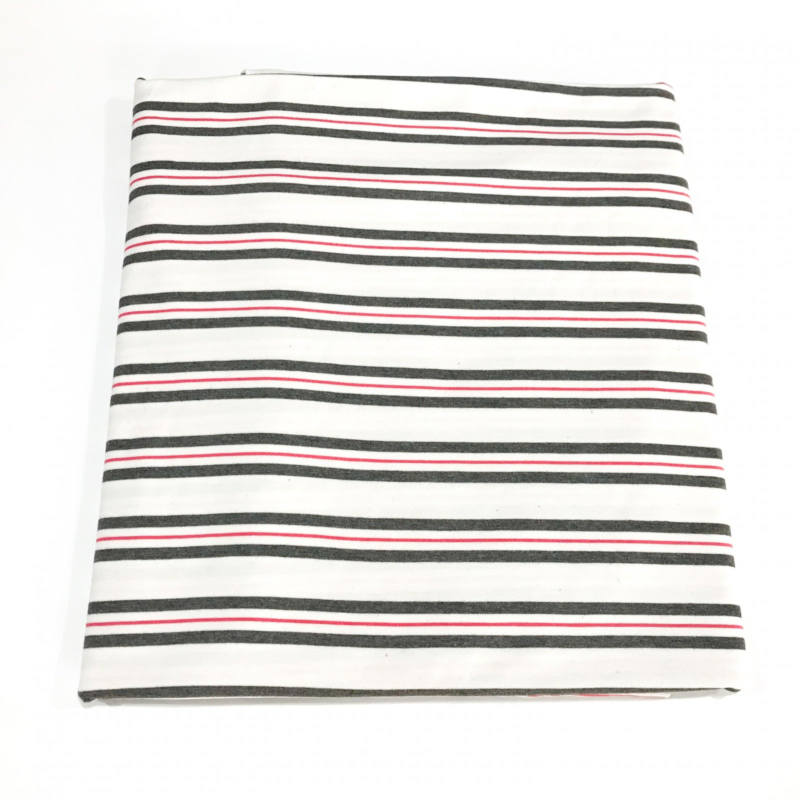 1 1/3 yards - Bamboo Stripe - Gray and Coral