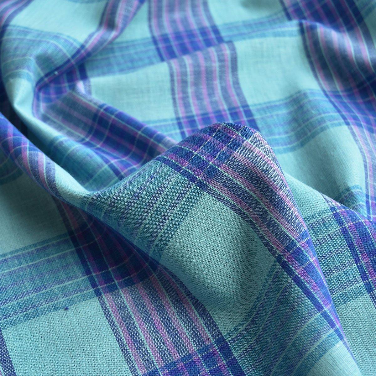 Linen - Turquoise & Purple Plaid