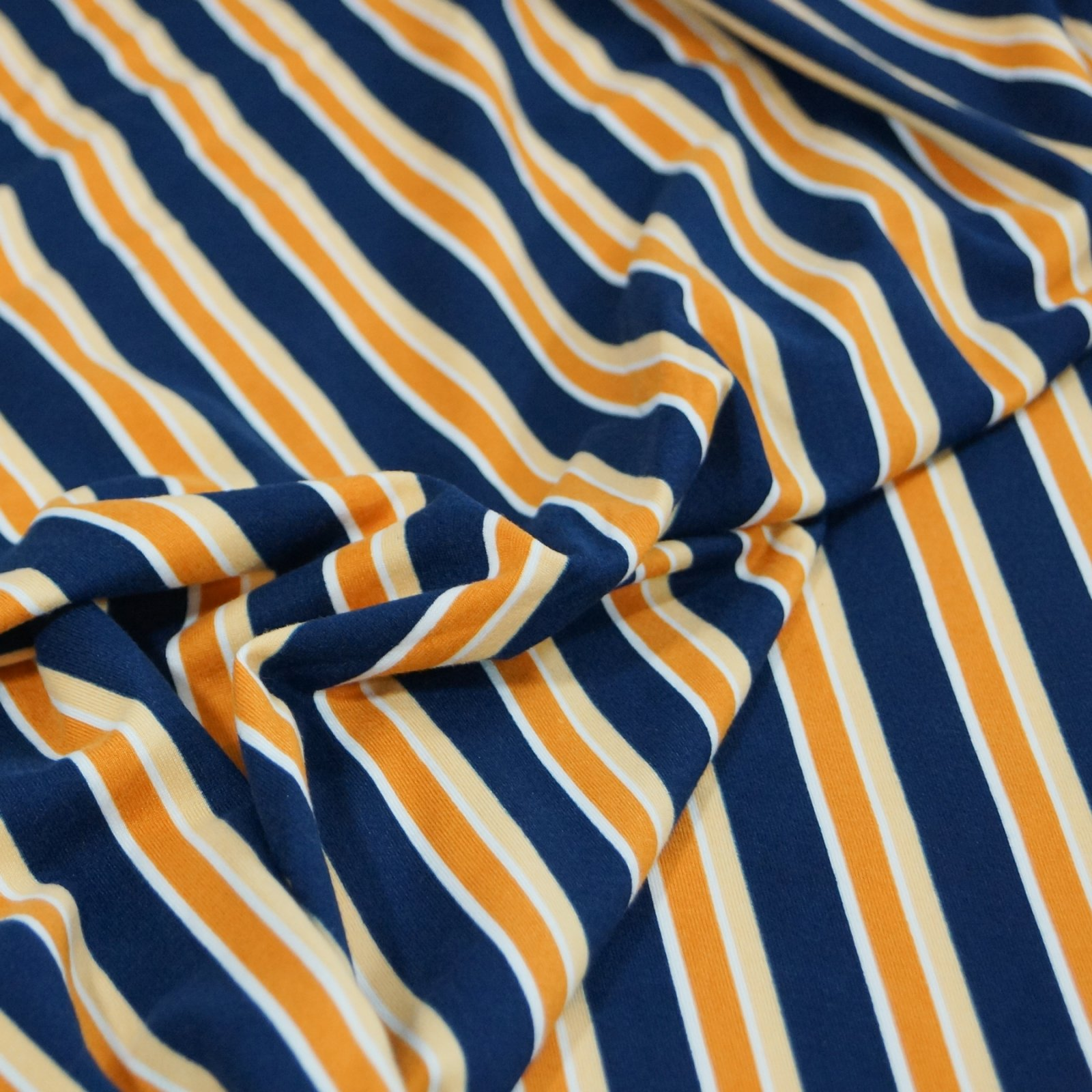 Knit - Stripes: Blue, Orange, & Gold stripes