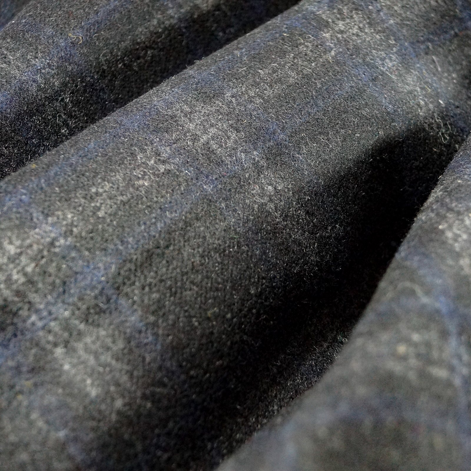 Wool - Double Faced Blue and Charcoal Plaid Italian Wool