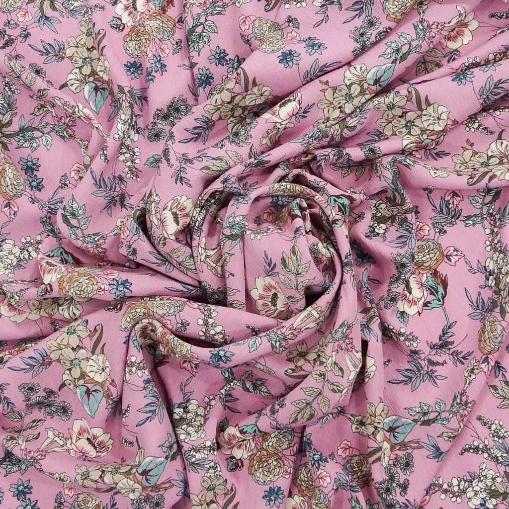 Rayon Crepe - Boho Floral Pink