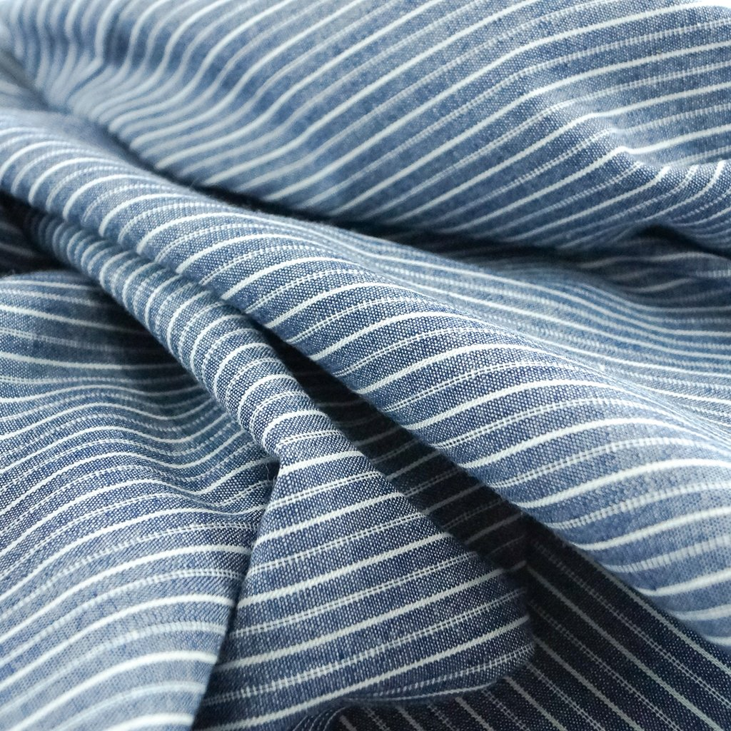 Cotton - Coastal Blue Stripe Chambray
