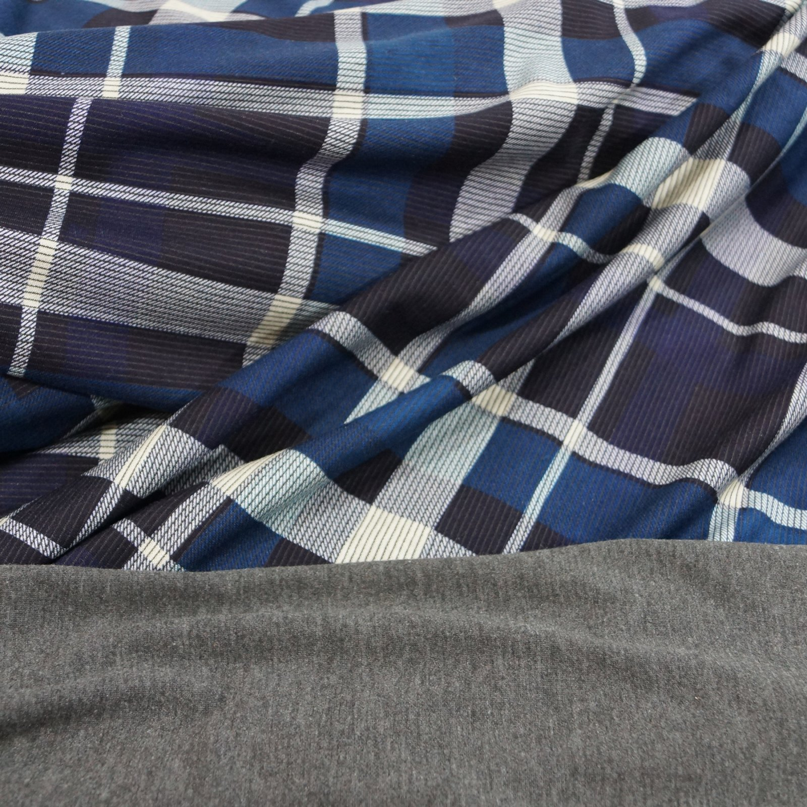 Rayon Double Knit - Navy and Royal Plaid