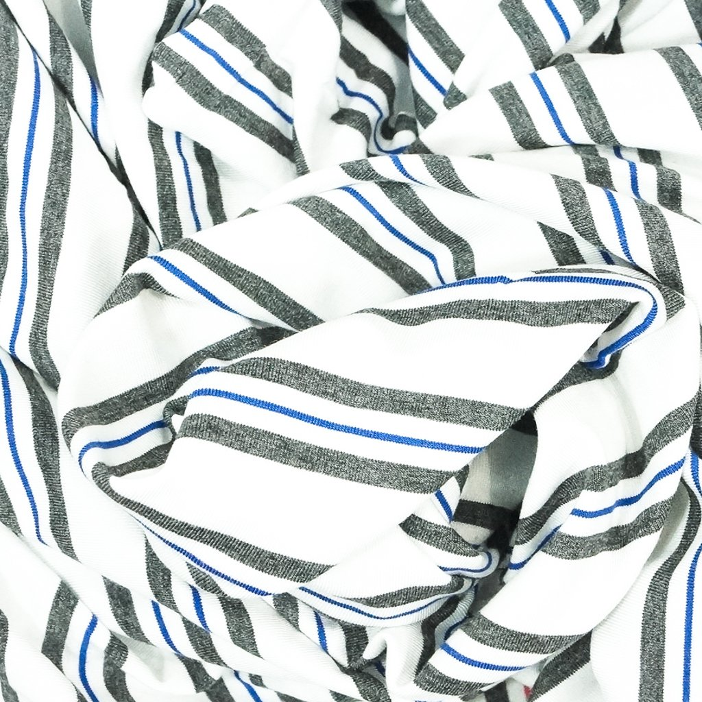 Bamboo Stripe - Grey and Royal on White