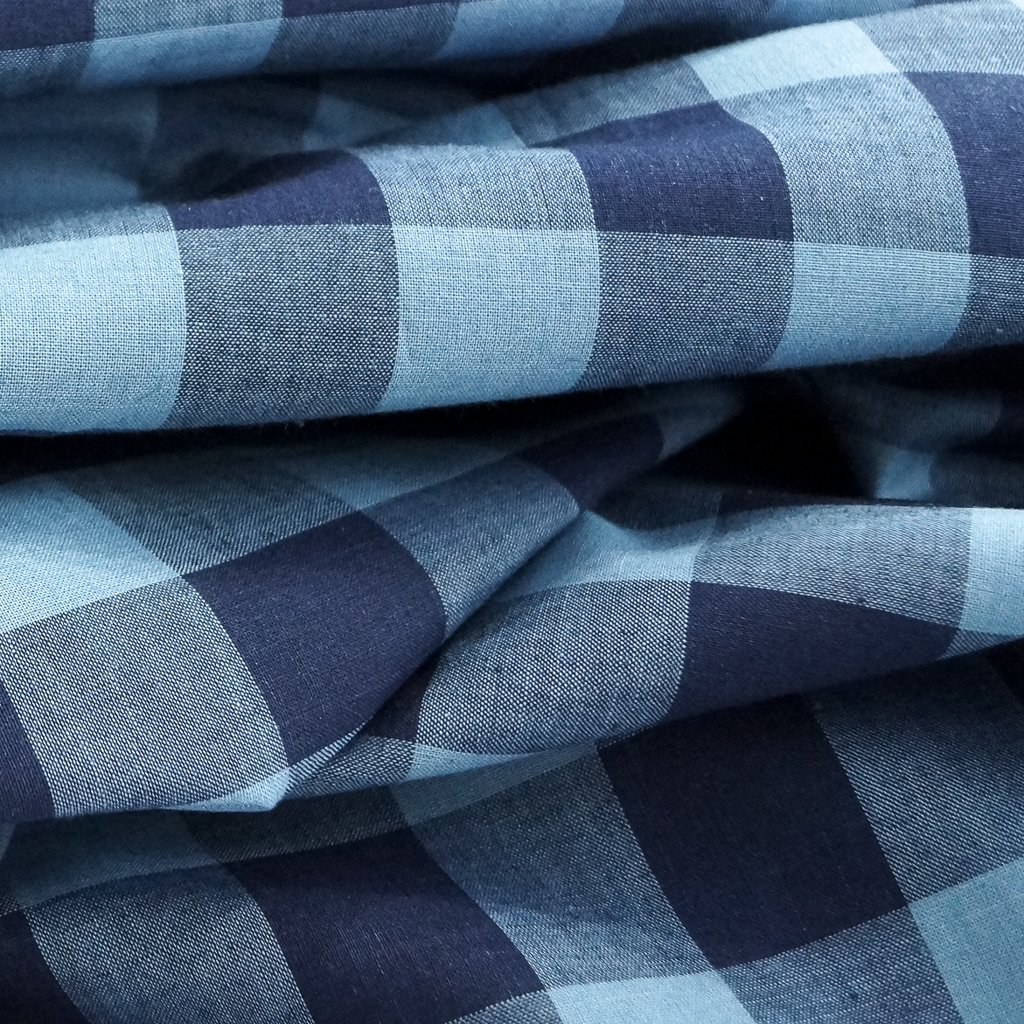 Cotton - Yarn-dyed Blue-on-Blue Buffalo Check Shirting
