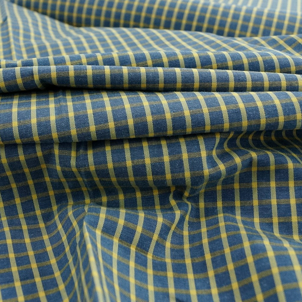 Cotton - Yarn-dyed Blue & Yellow Windowpane Shirting