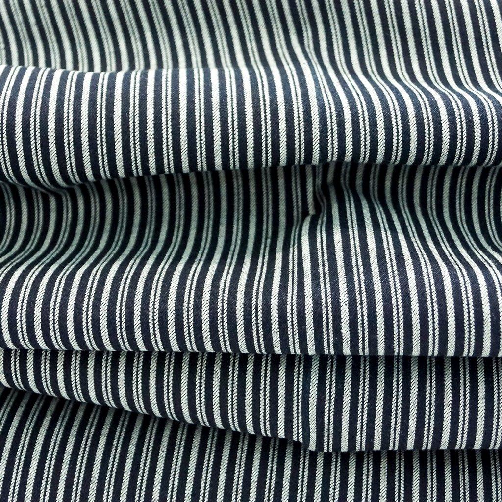 Cotton - Black & Cream Railroad Stripe