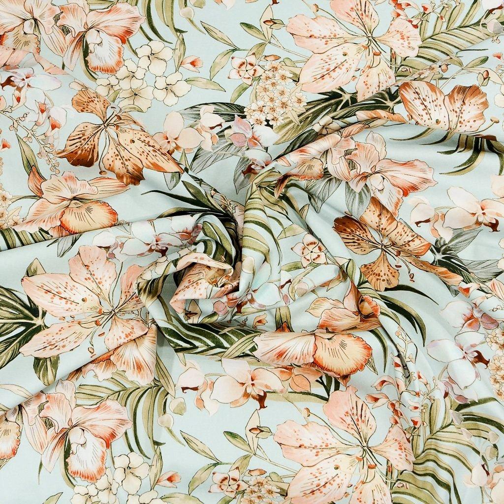 Cotton Stretch Sateen - Soft Peach & Mint Lilies - Italian