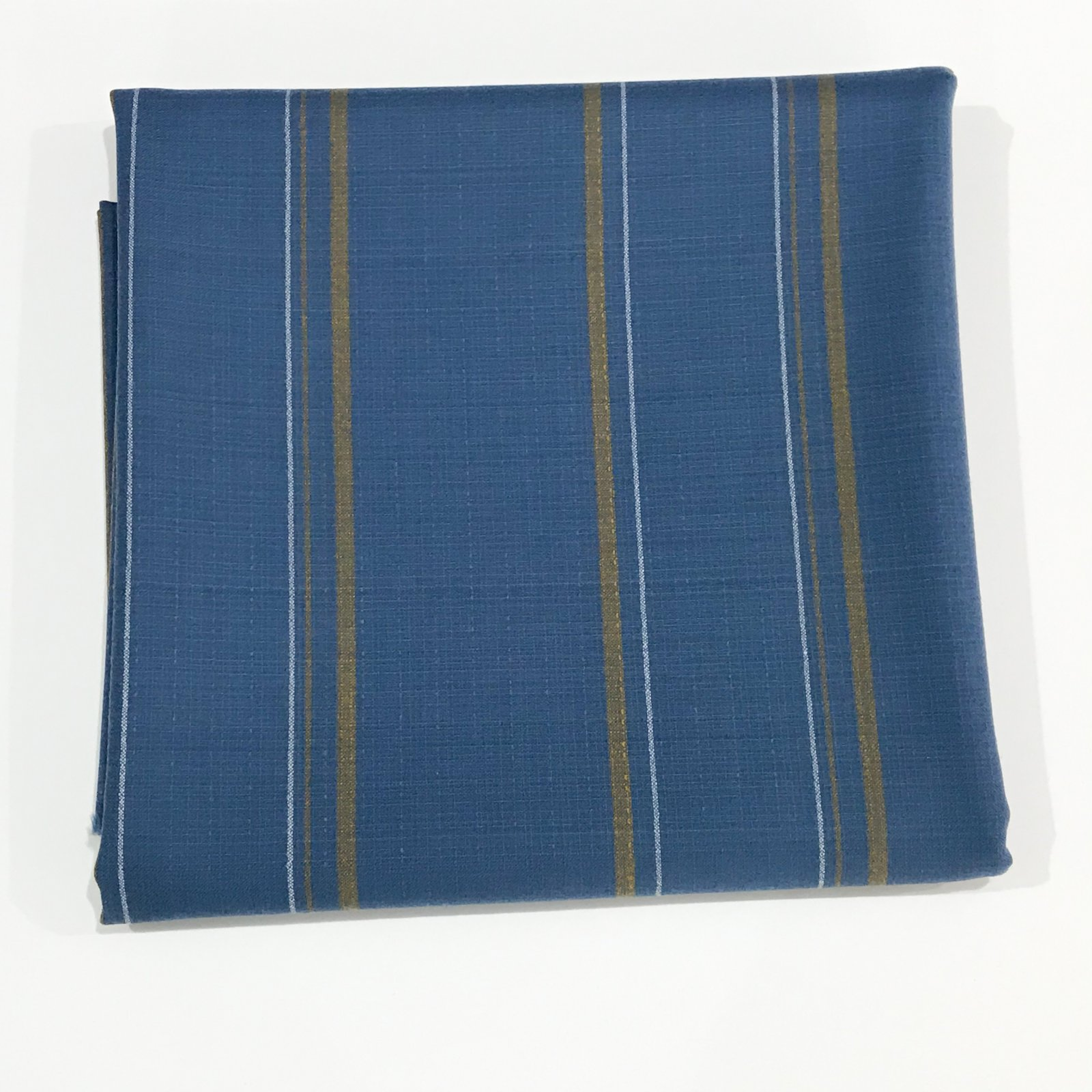 2 yards - Pendleton (TM) Dusty Blue with Gold and White Stripes