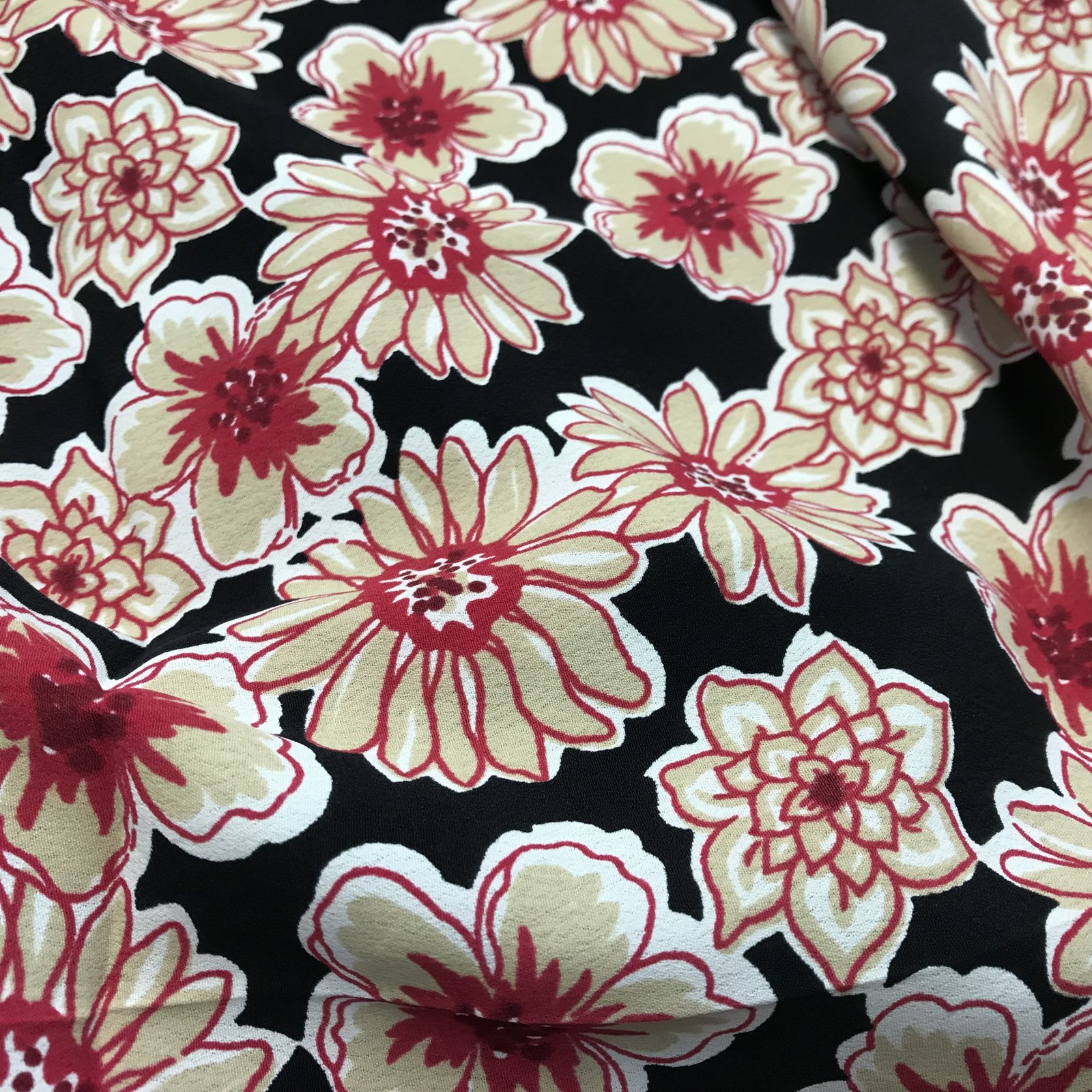 Rayon Crepe - Red Flowers