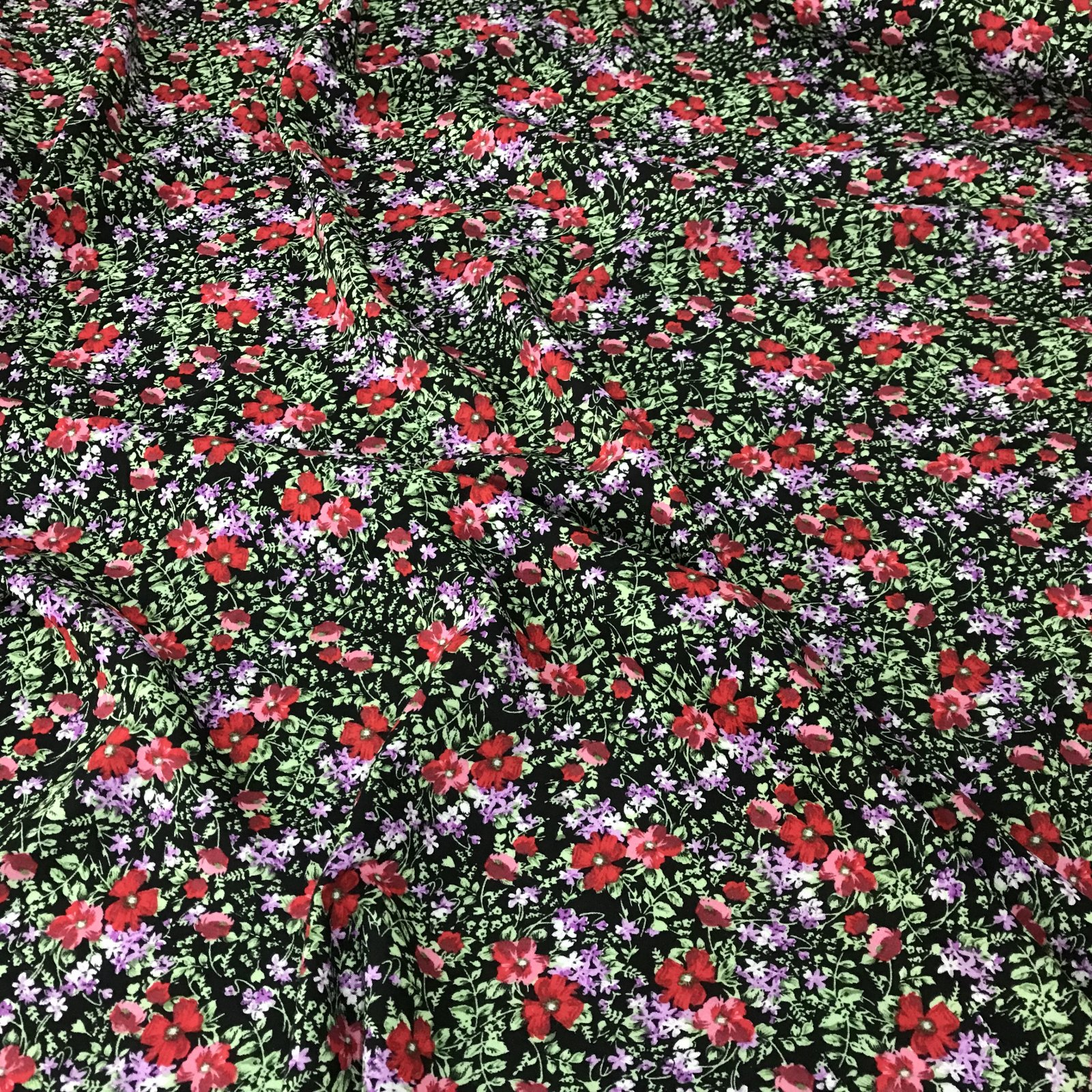 Rayon -  Small  Black/Red Floral