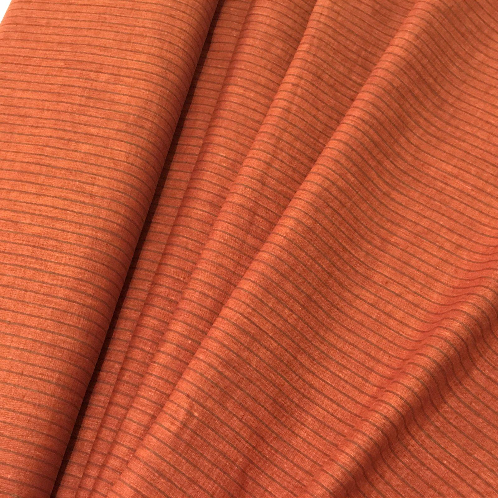 Linen - Orange & Taupe Stripes