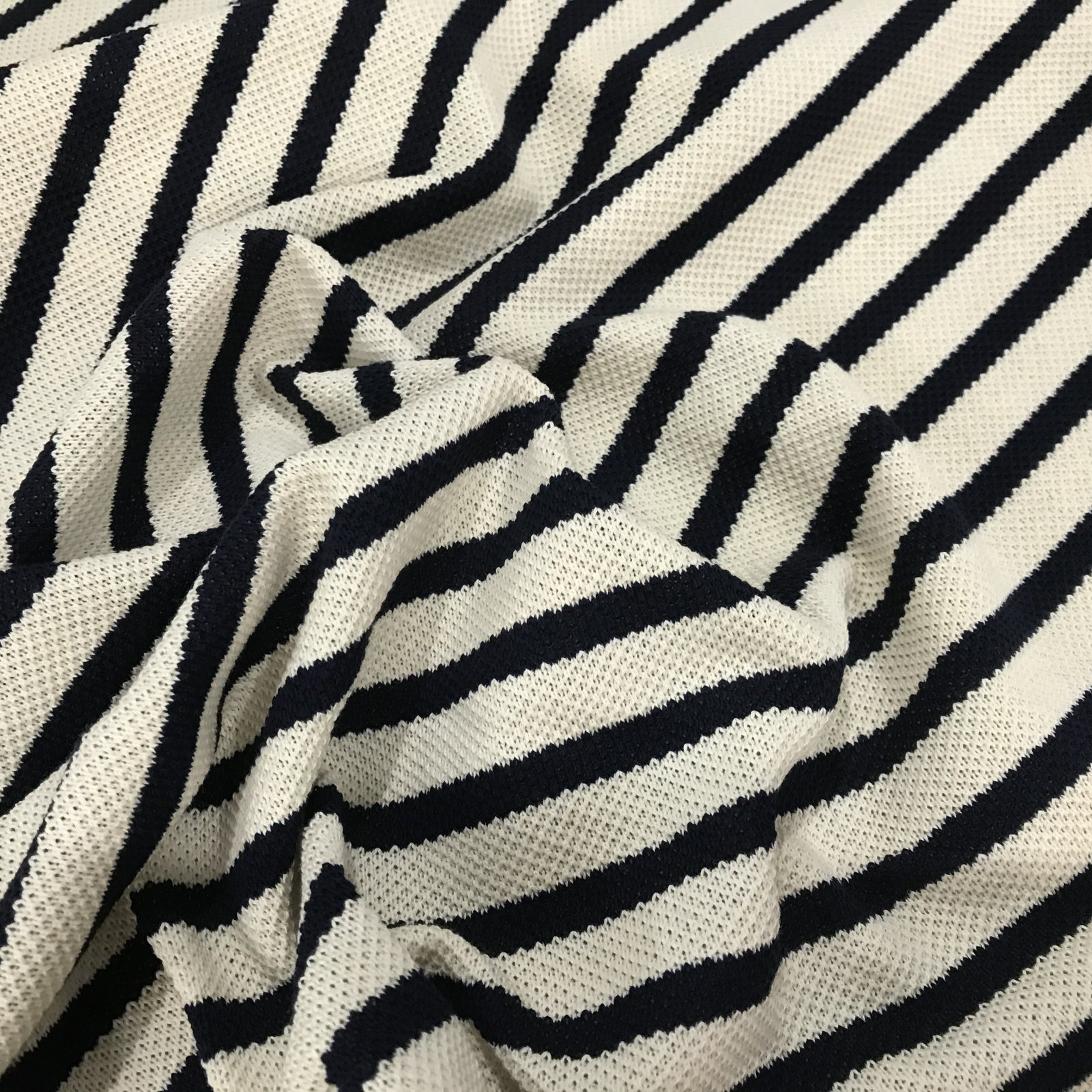 Cotton Knit - Cream and Navy Stripe