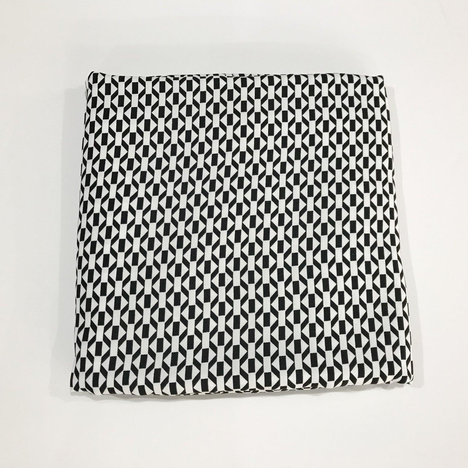 2 yards - Viscose Crepe - Geometric Black and White