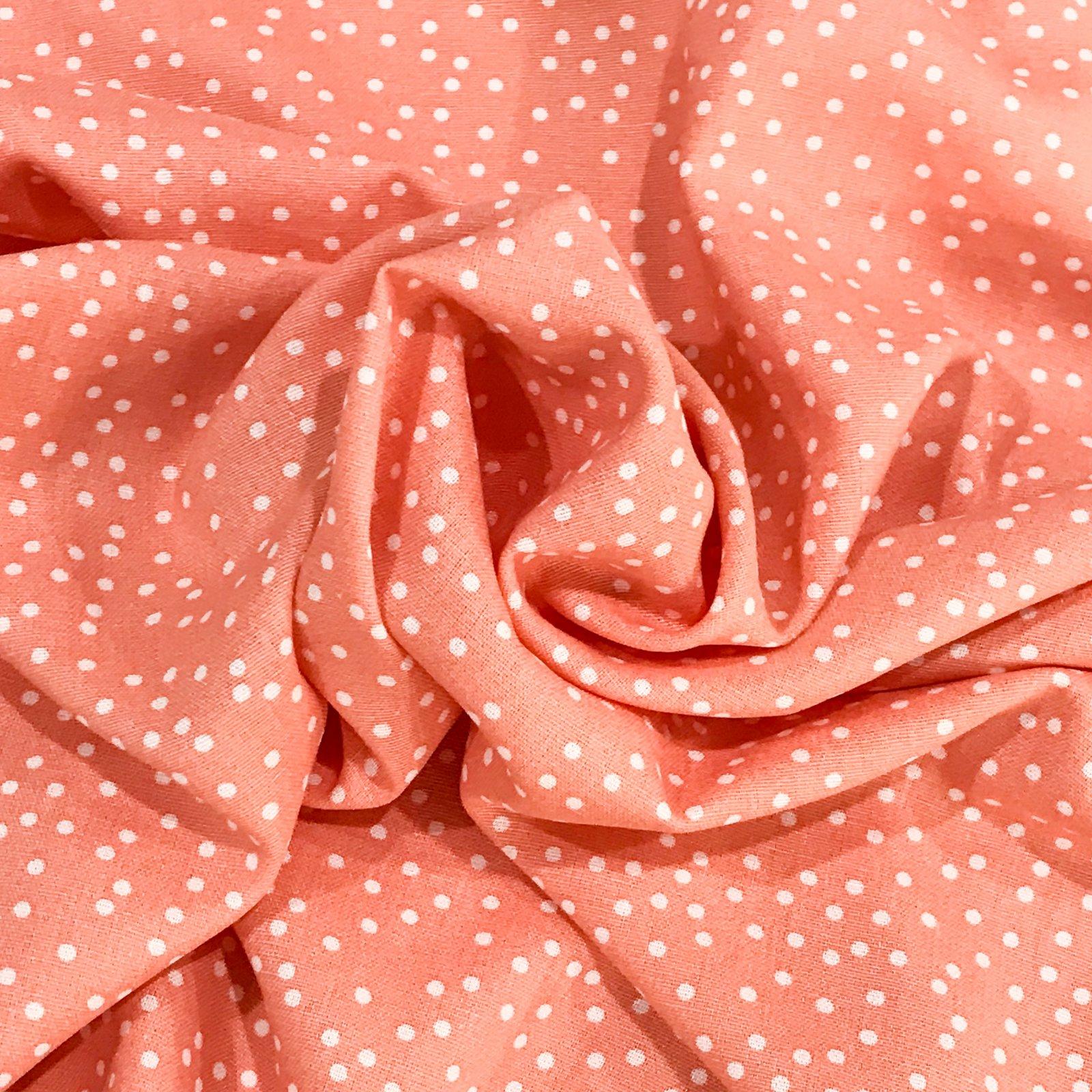 Linen - Rayon Blend Coral Polka Dots