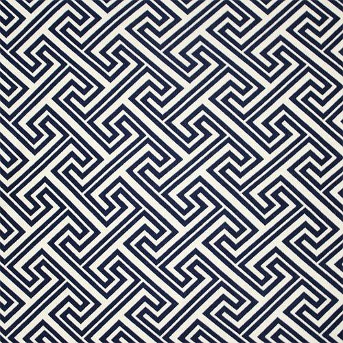 Navy Blue Greek Key Cotton Spandex Blend