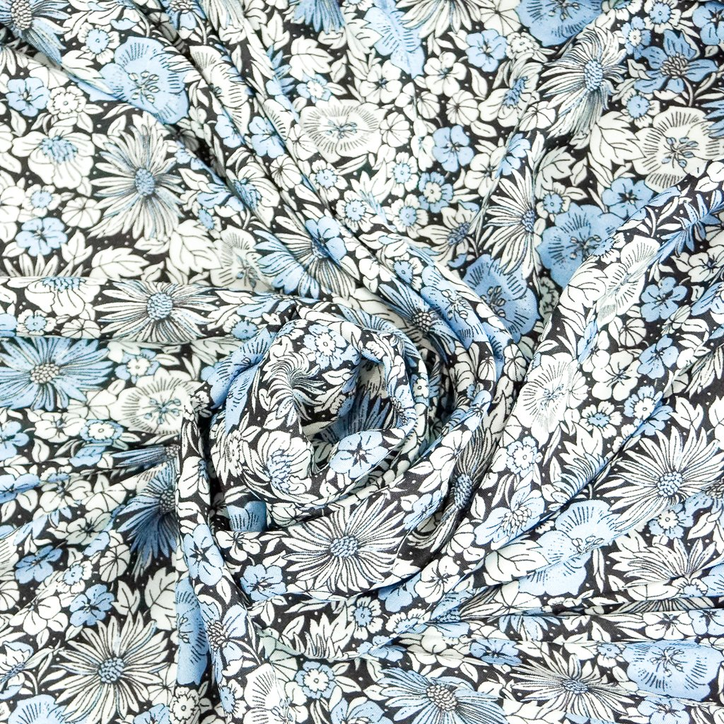 Rayon - Cornflower Light Blue Floral Challis