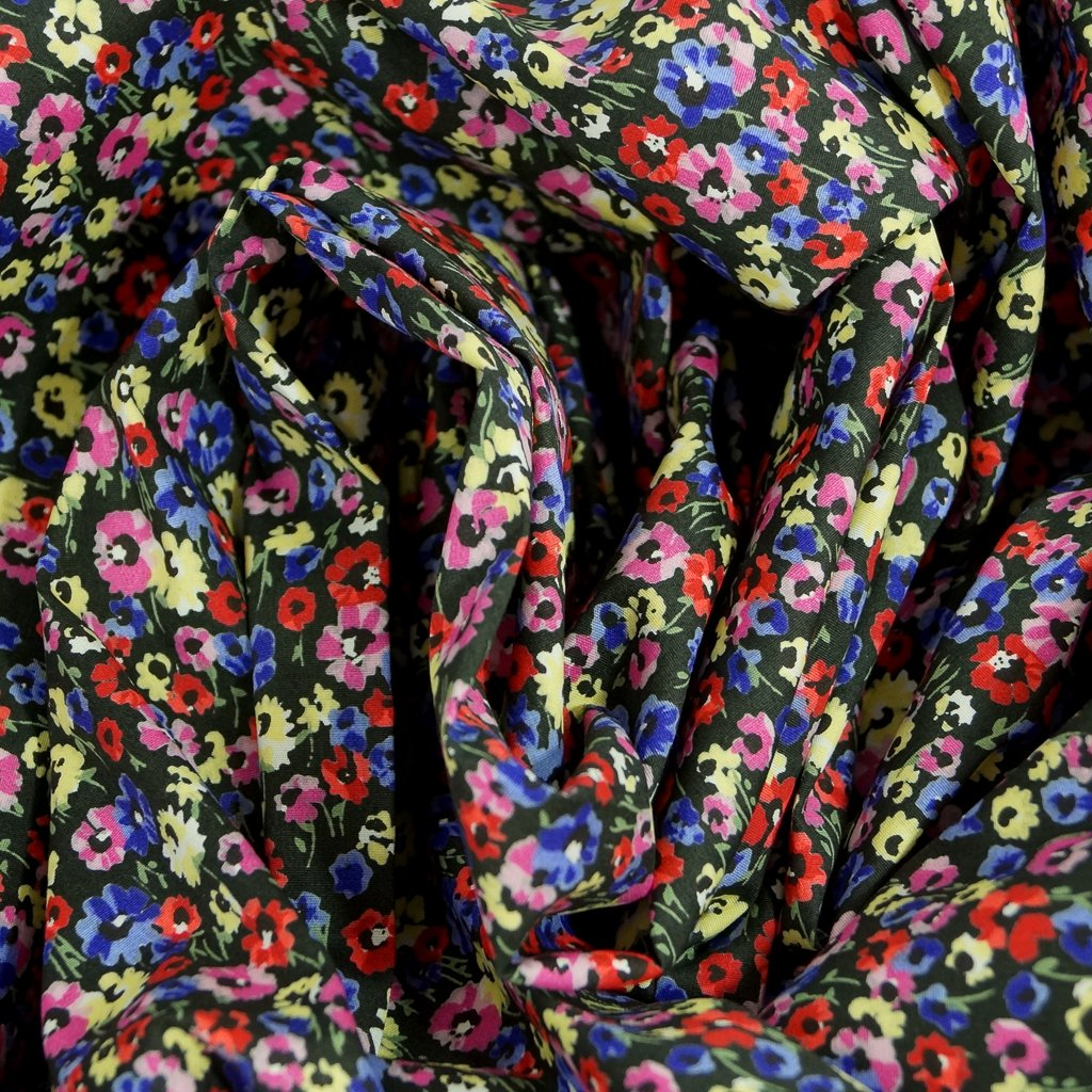 Cotton - Cottagecore floral on black with Stretch