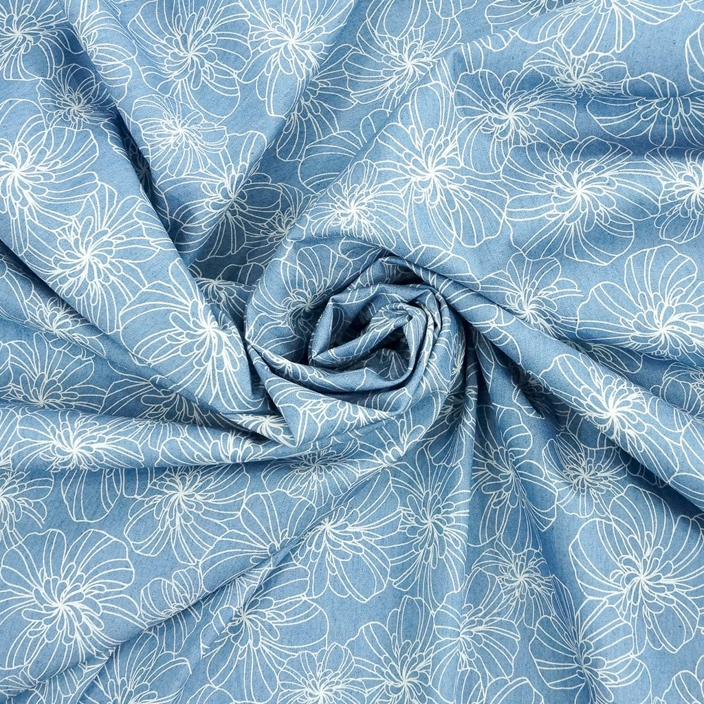 Cotton Chambray - Blue Yarn Dyed with White Floral Print
