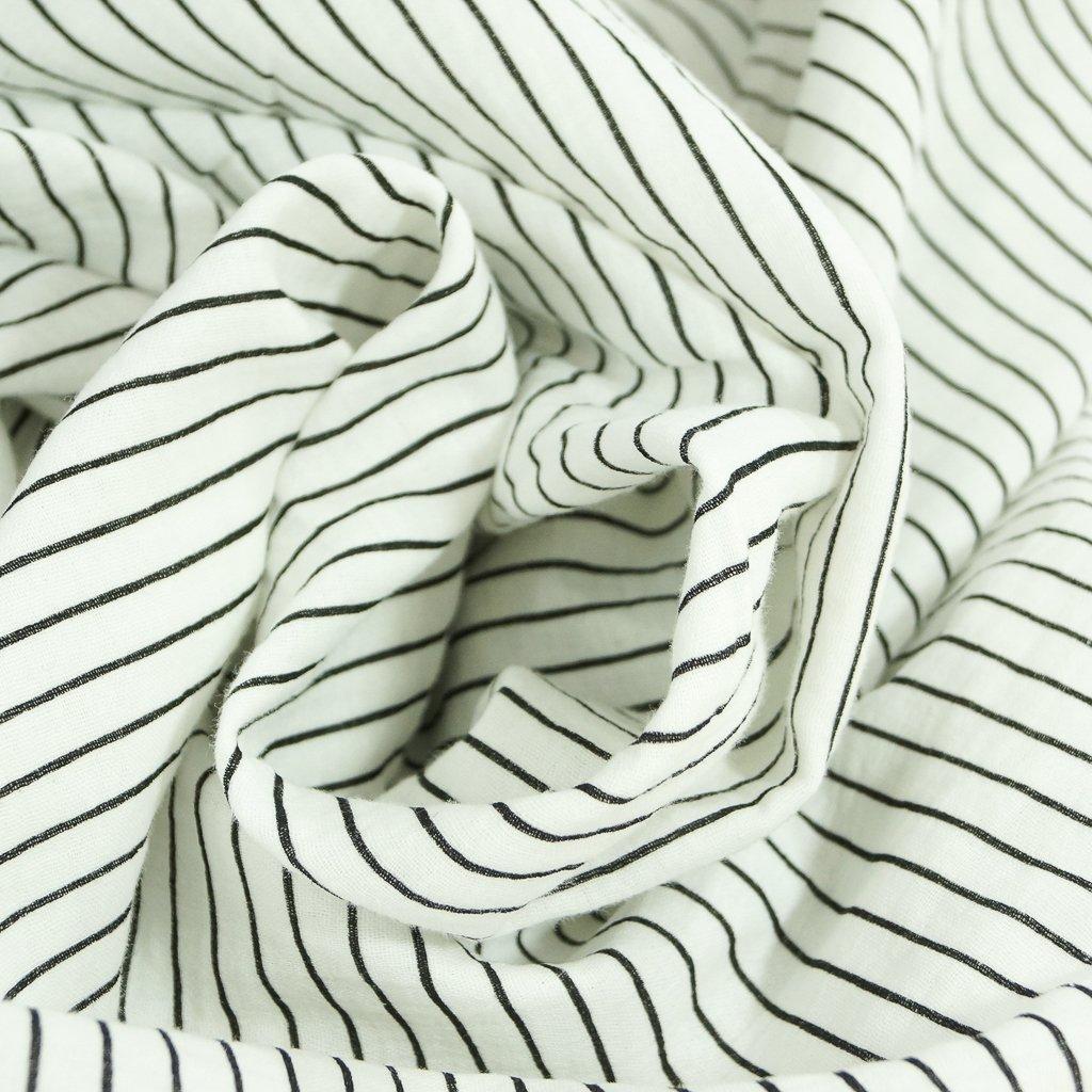 Cotton - Double Gauze Black and White Stripe