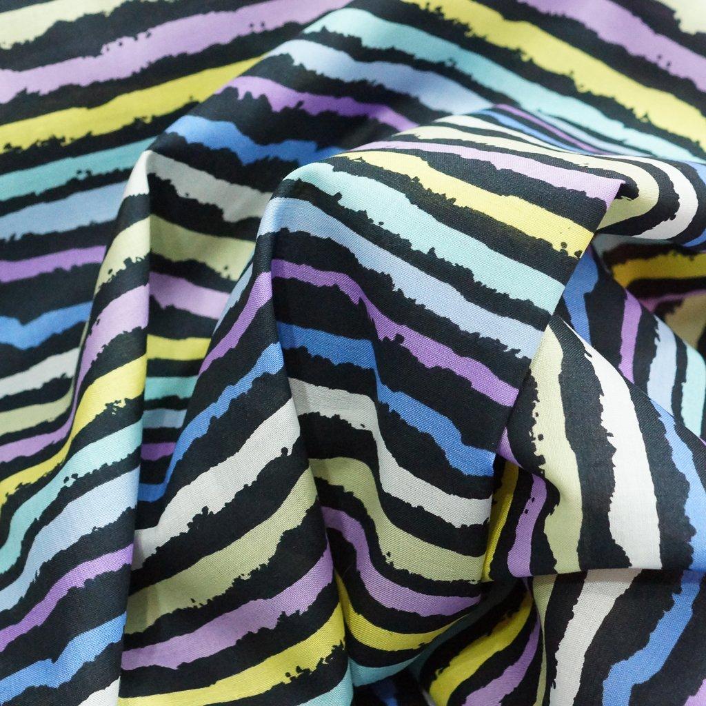 Cotton - Poplin in 80s Retro Pastel and Black Stripes