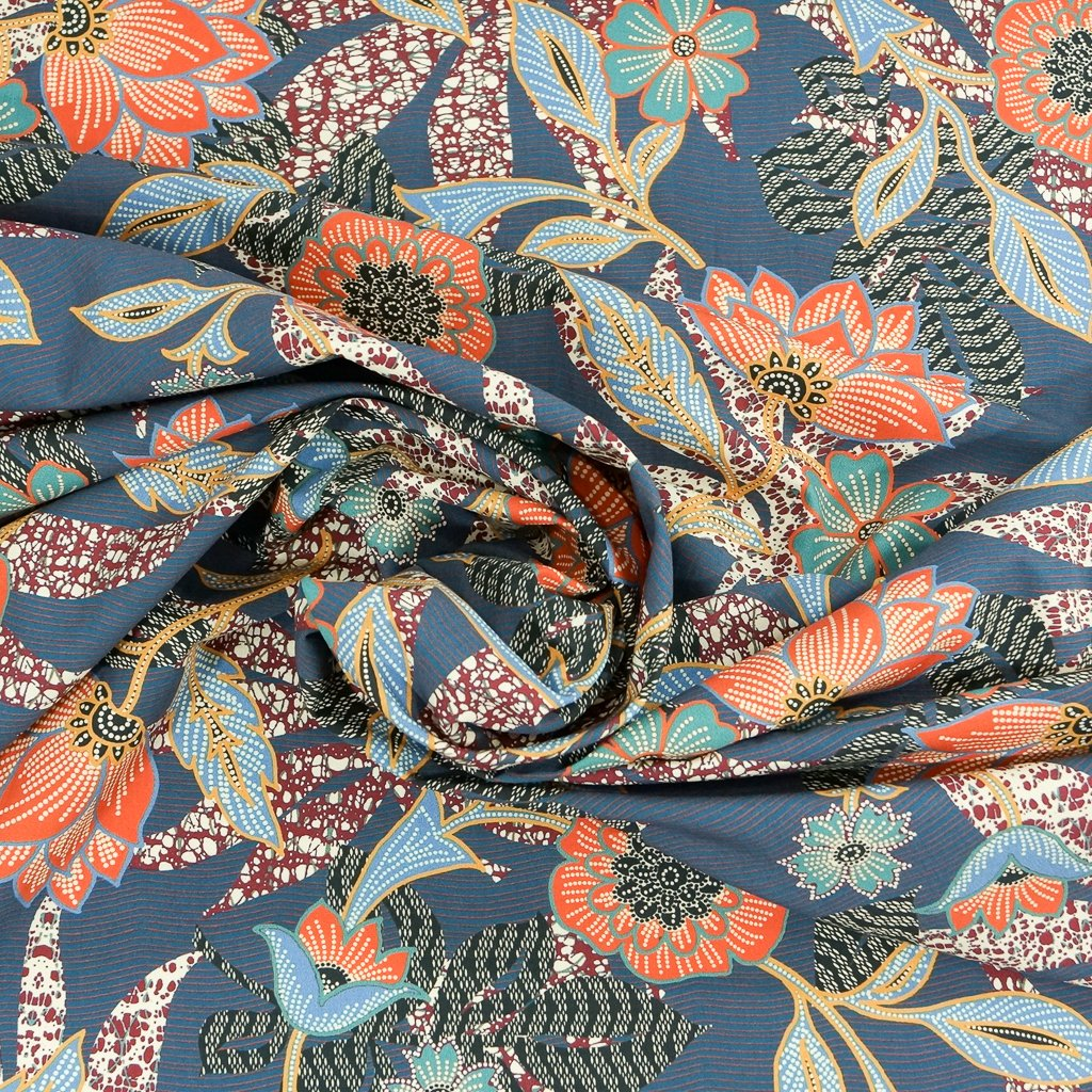 Cotton Poplin - Italian Provincial Floral in Blues