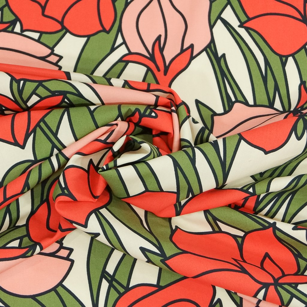 Cotton Poplin - Italian Stained Glass Floral