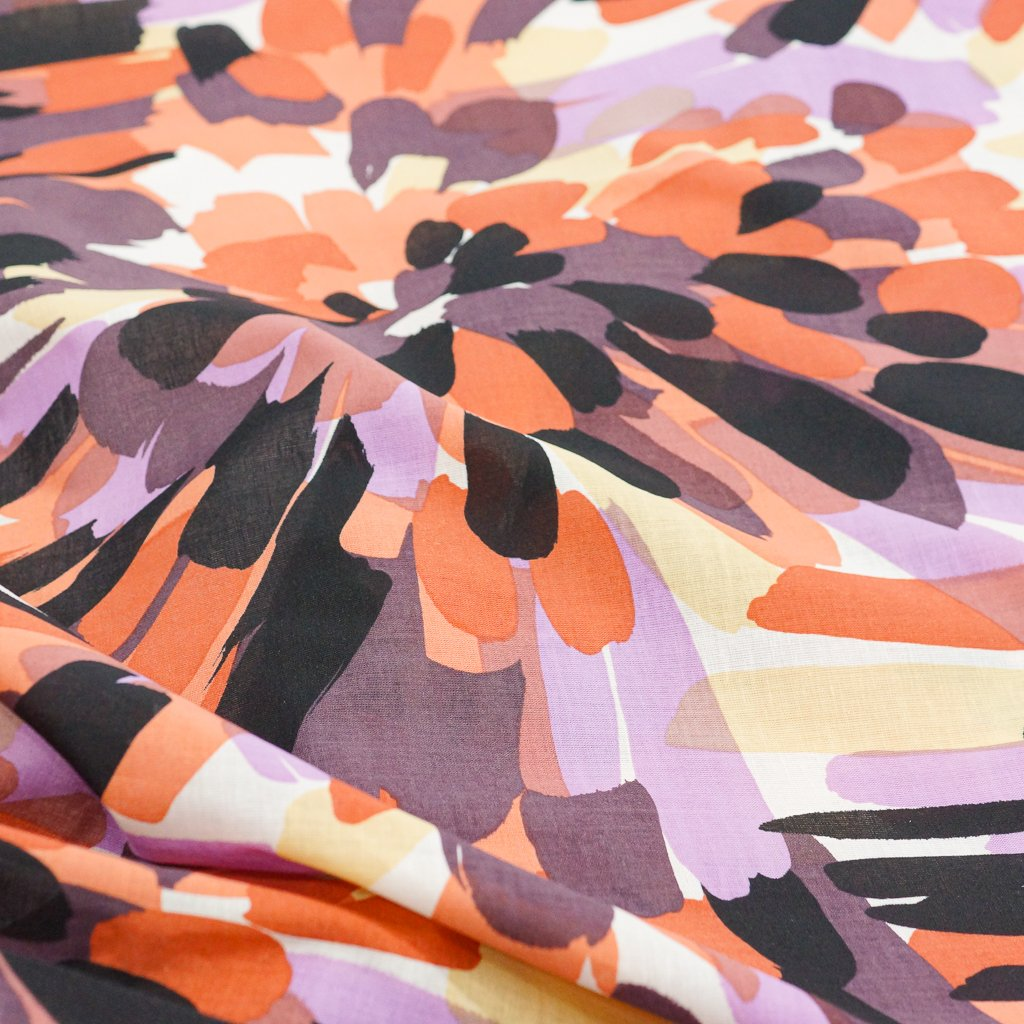 Cotton - Poplin Abstract Sunset Oranges and Purples