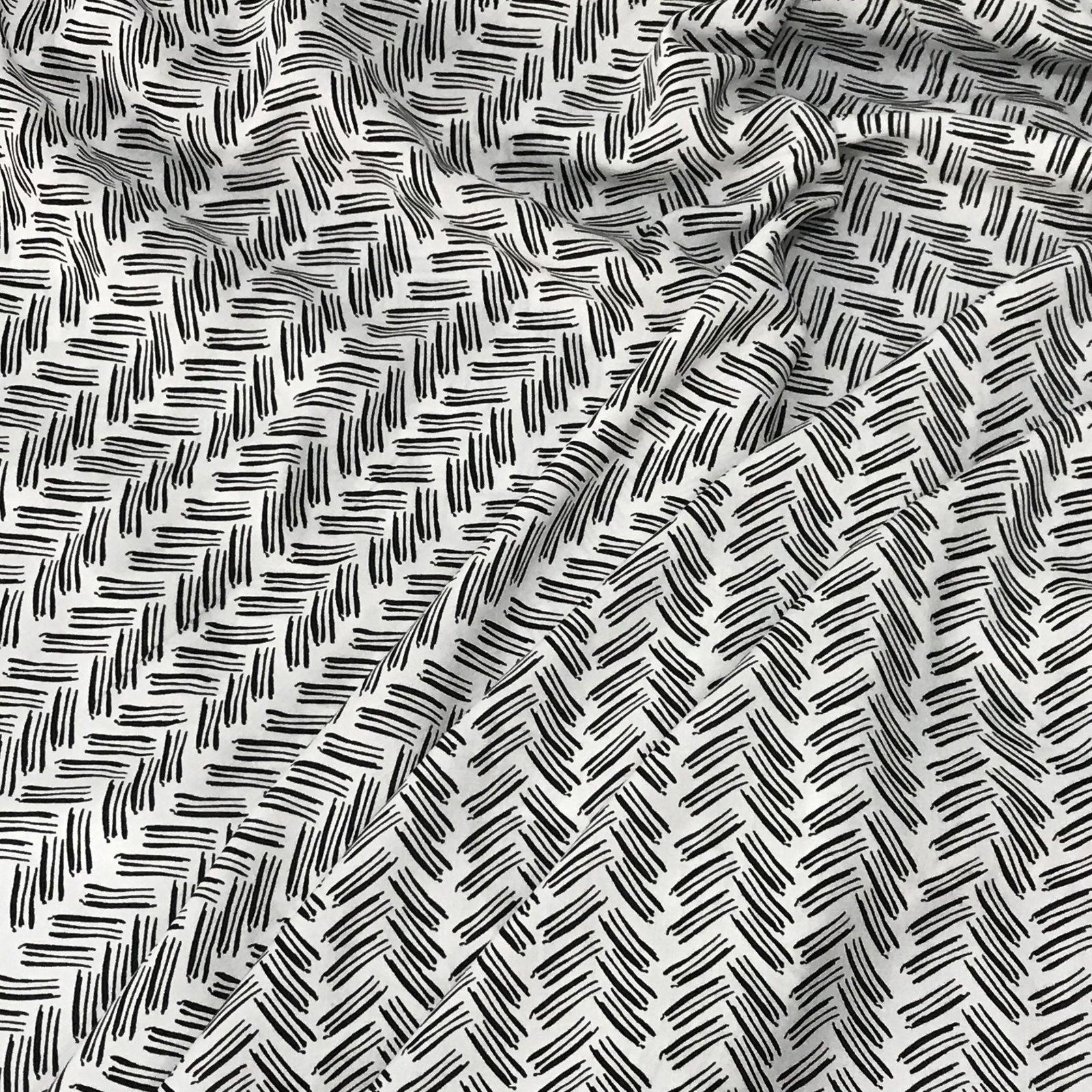 Rayon - Ecru & Black Lines