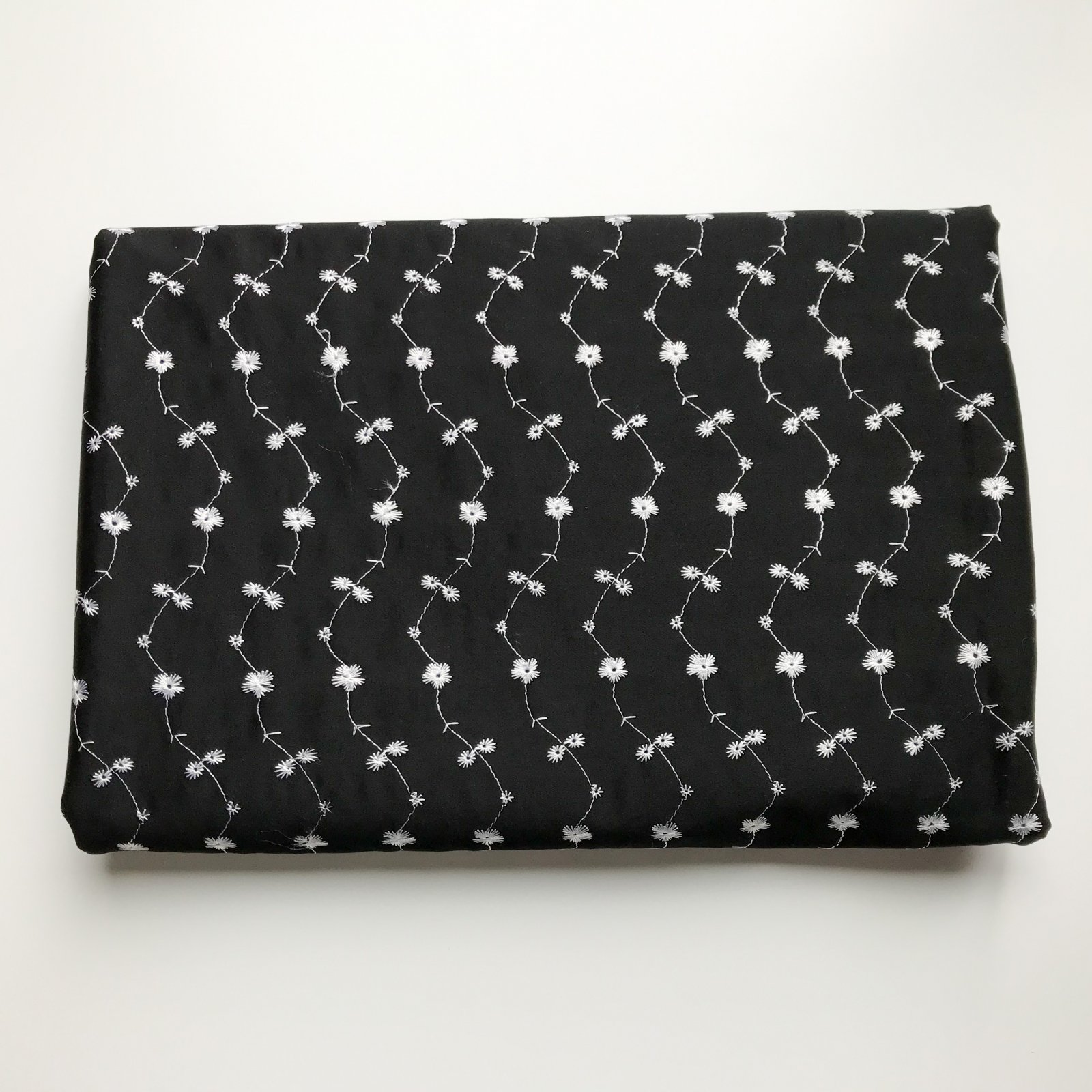 3 yards - Black Shirting with White Embroidery
