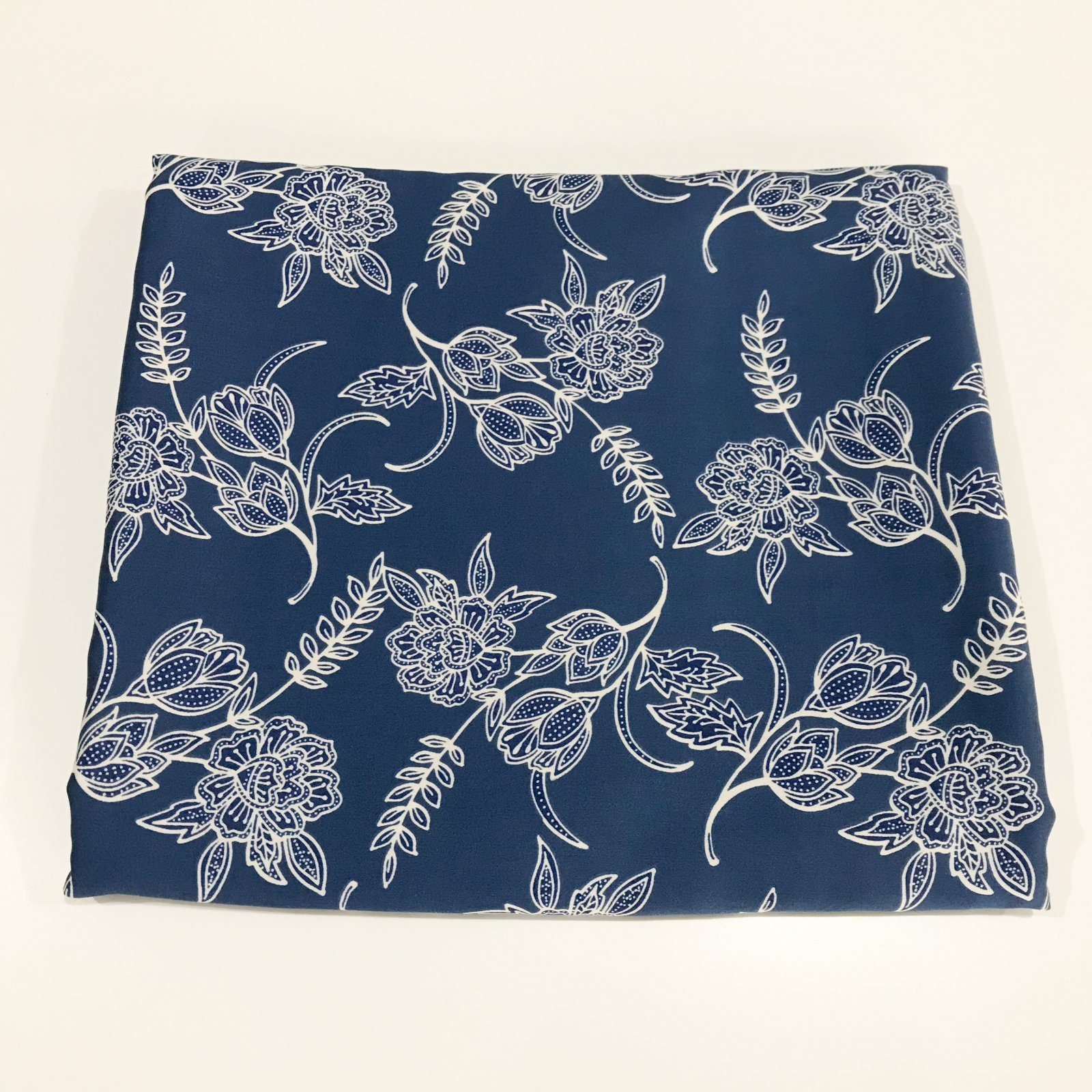 1 yard + 29 inches - Rayon - Deep French Blue Floral