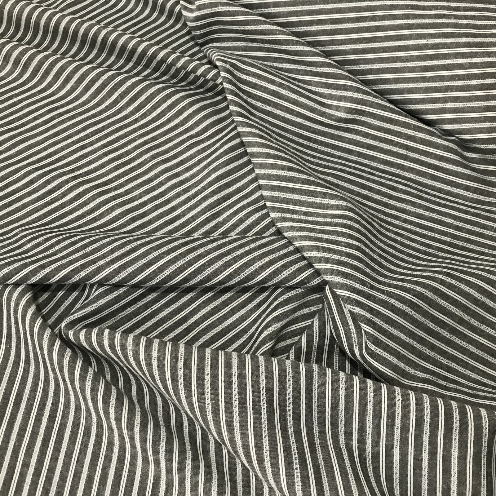 Cotton Woven - Black Spaced Stripes