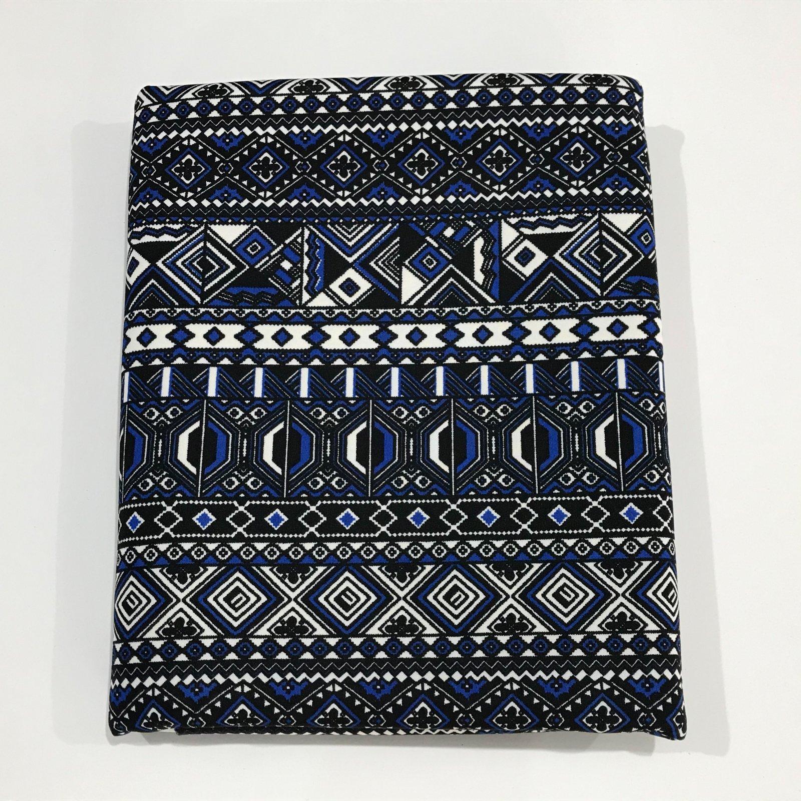 1 yard -  Ponte Knit - Mosaic Black and Blue