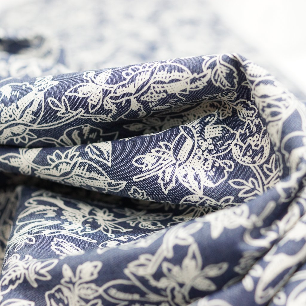 Cotton - Chambray Shirting with Floral Print