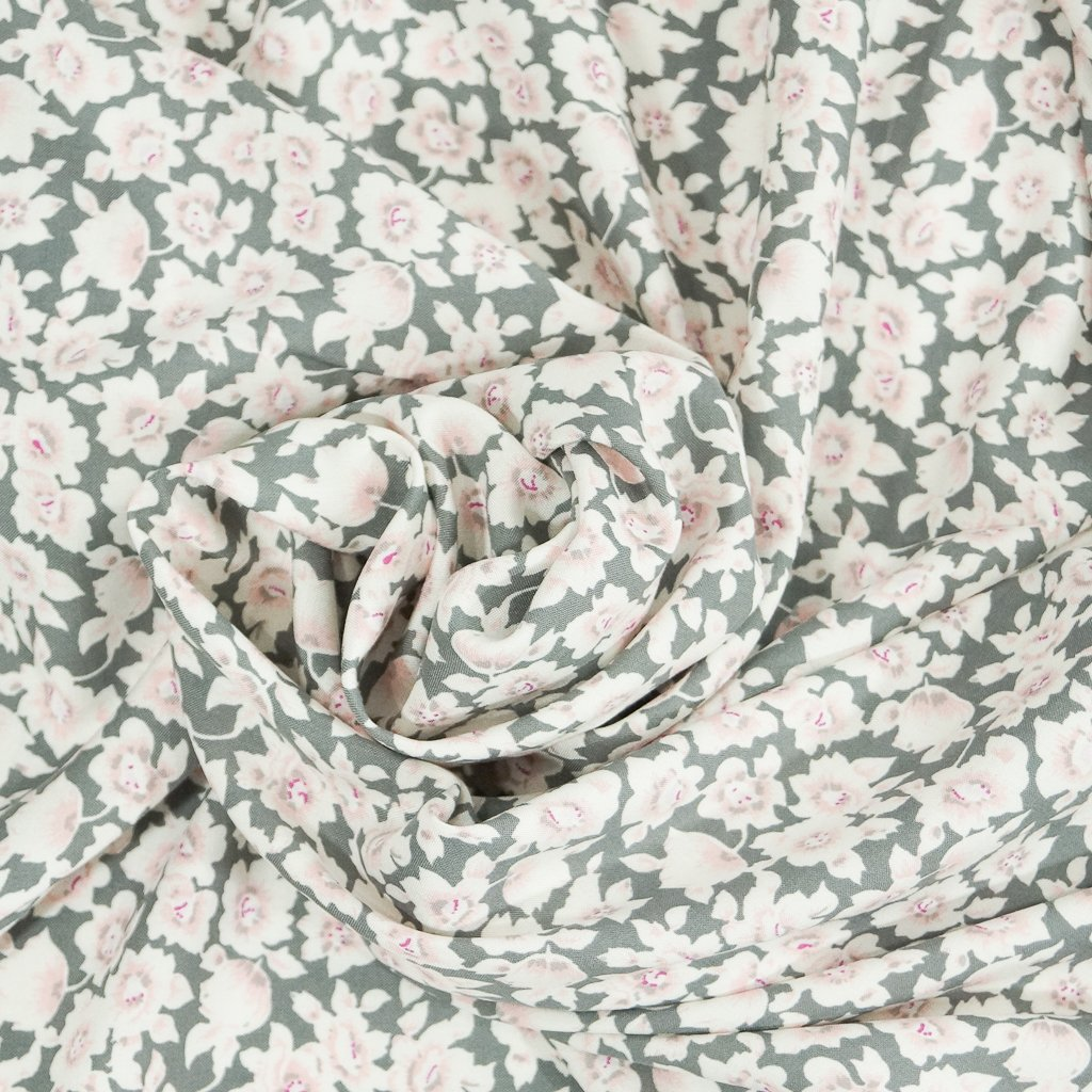 Rayon - Gray with Pink Floral Challis