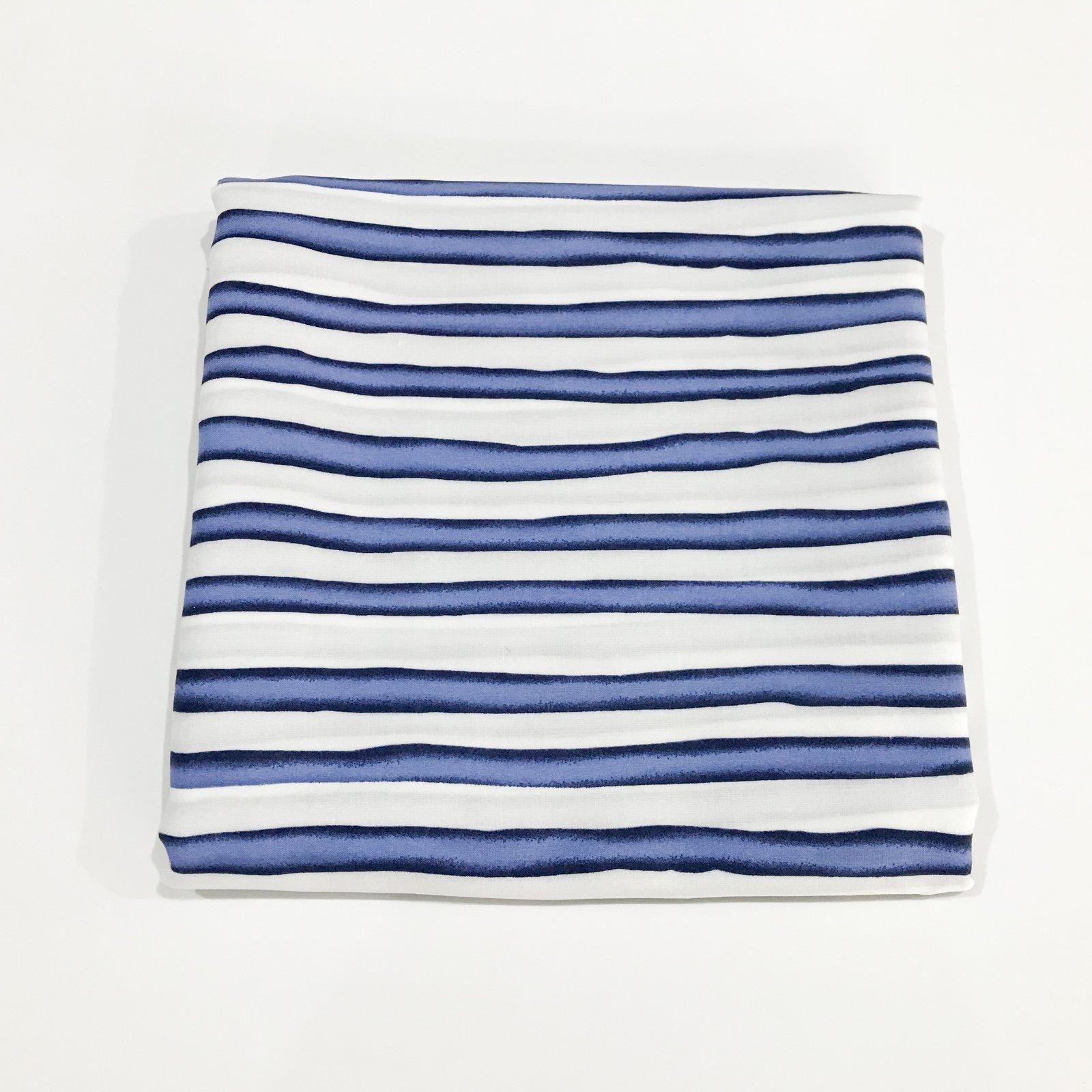 2 yards - Rayon Blue and White Wavy Stripe Challis