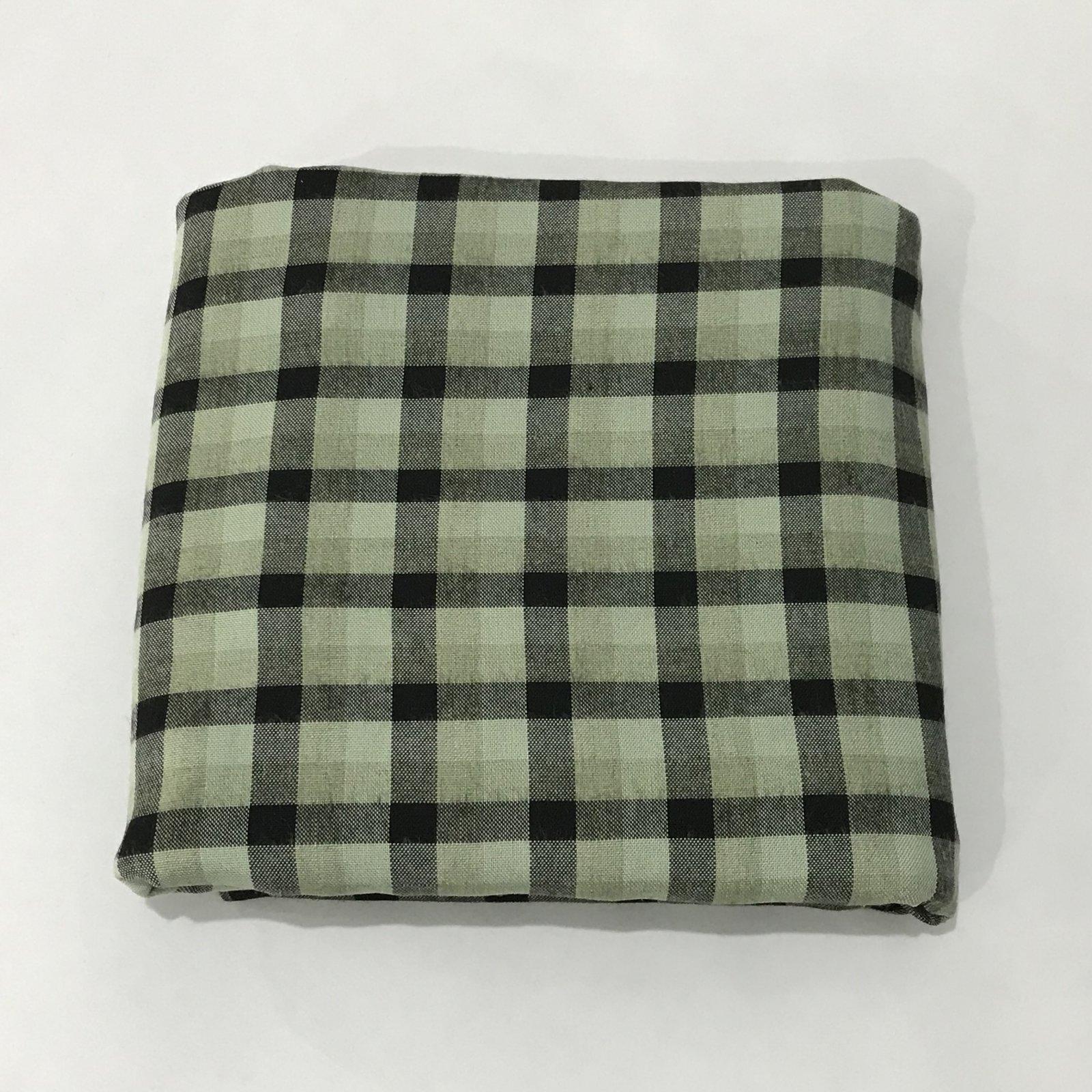 Linen/Cotton - Green & Black Plaid - 3 yards