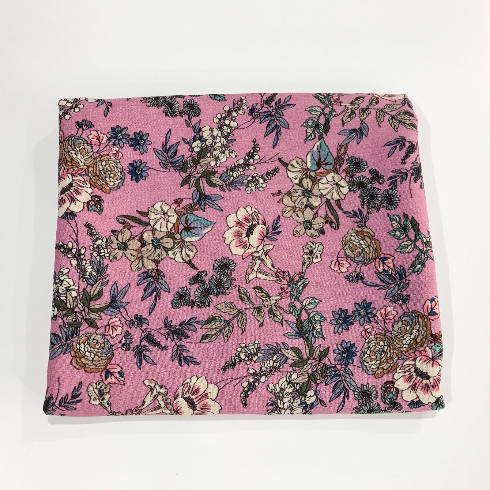 1 5/8 yards - Rayon Crepe - Boho Floral in Pink