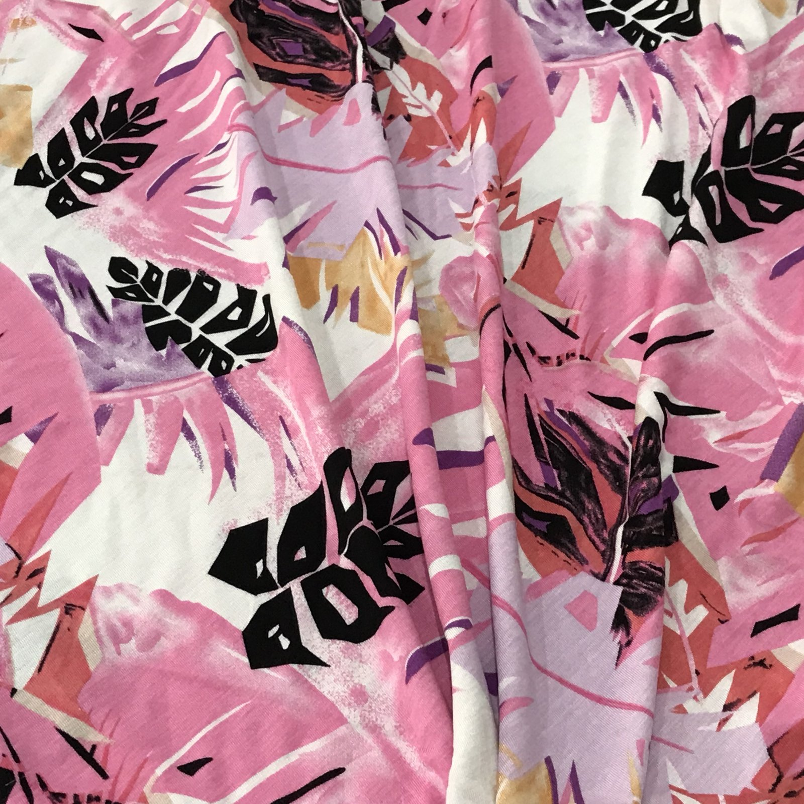 Rayon Knit - Tropical Fronds in Pastels