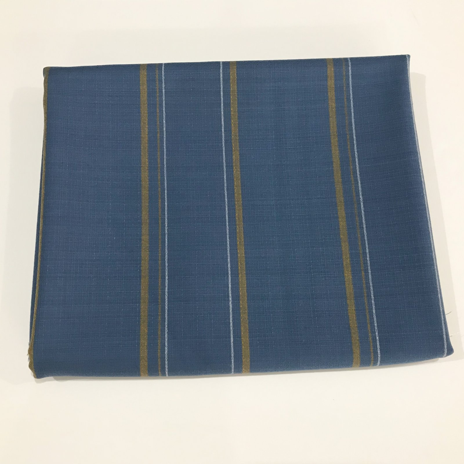 2 2/3 yards - Shirt Weight Pendleton (TM) Wool - Dusty Blue with Gold & White Stripes