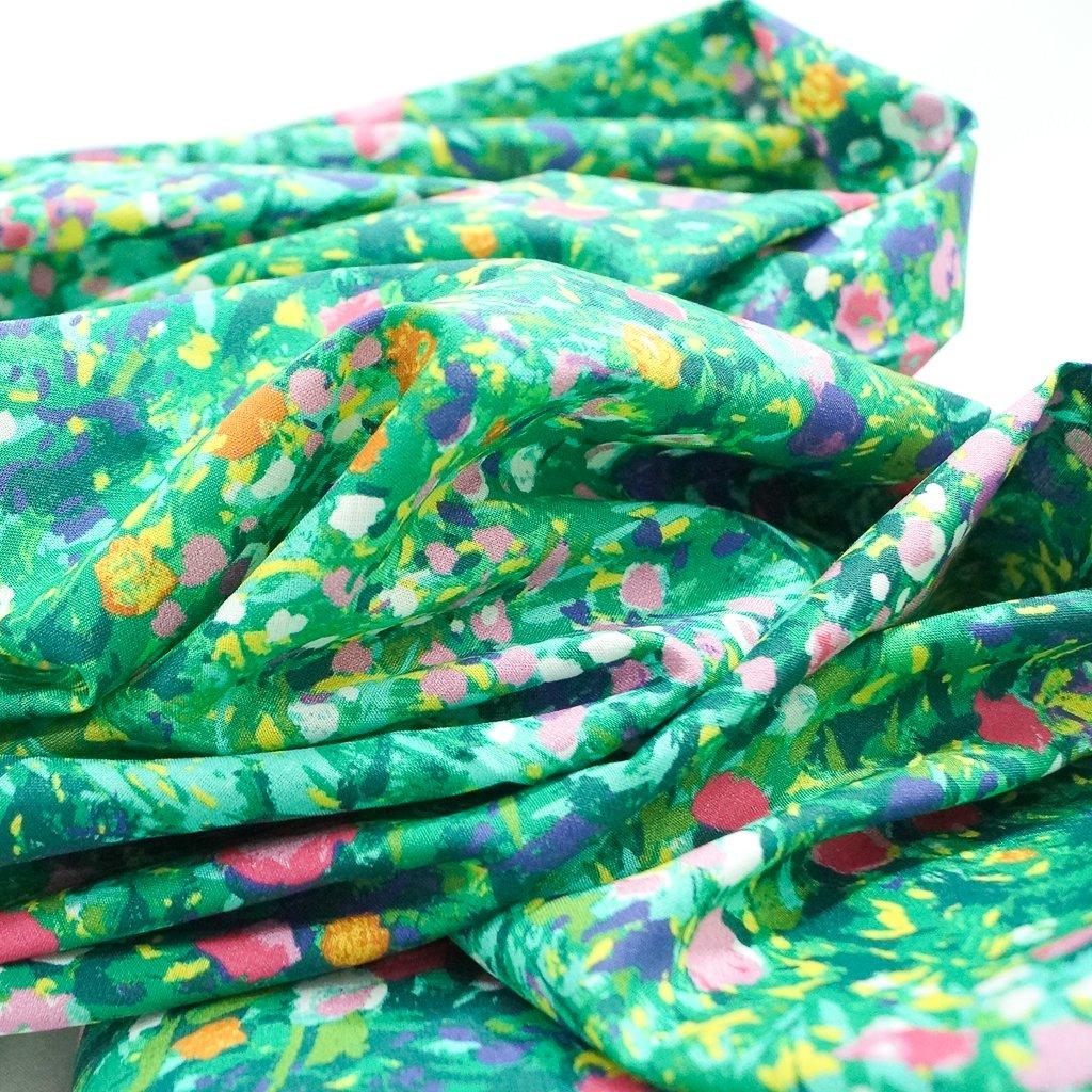 Cotton Lawn - Green Monet Petals