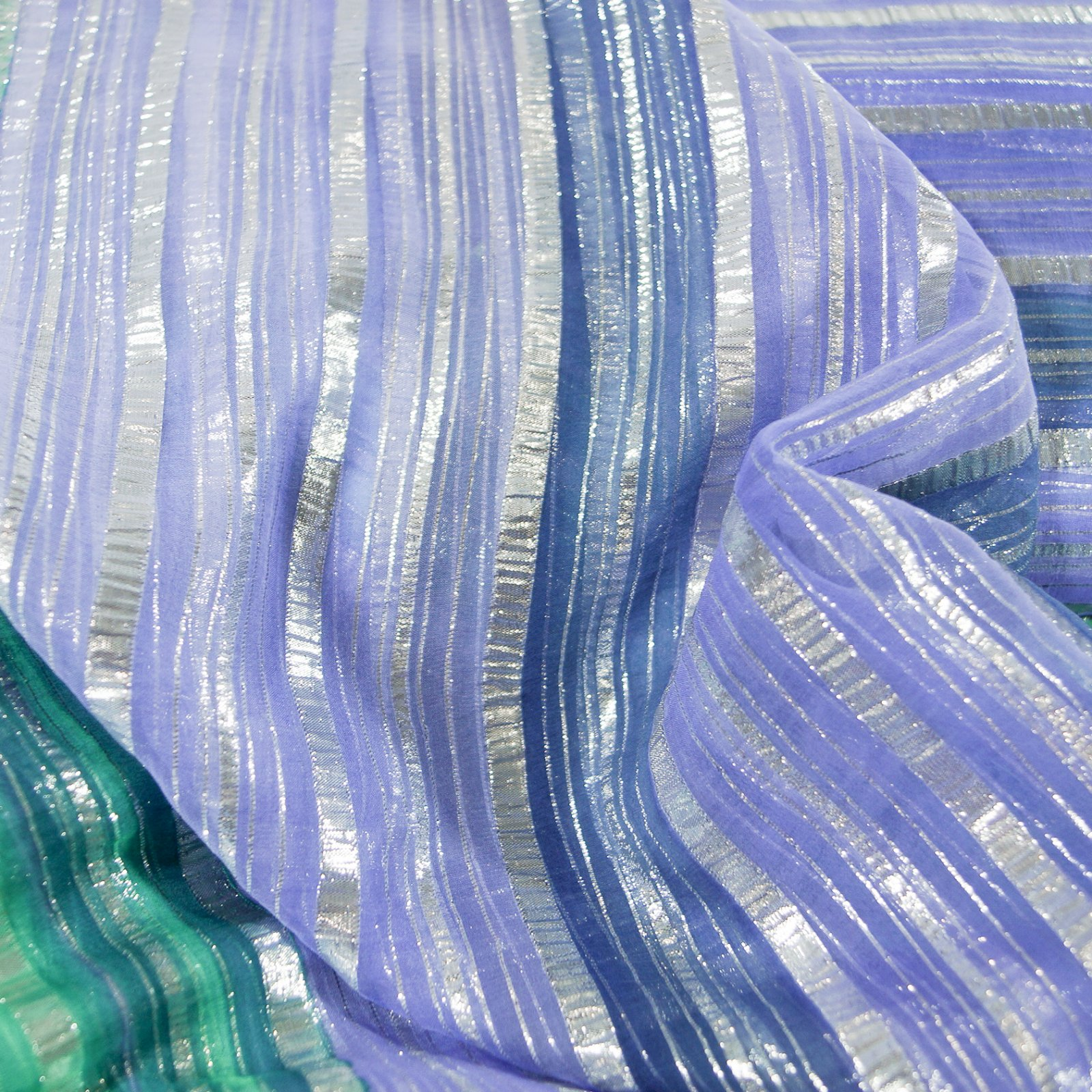 Silk - Bright-Iridescent Stripes in Tropical Oceanic Blues
