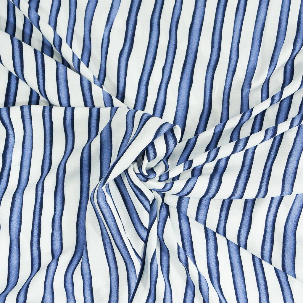 * Four Featured Fabrics: Rayon - Blue & White Wavy Stripe Challis