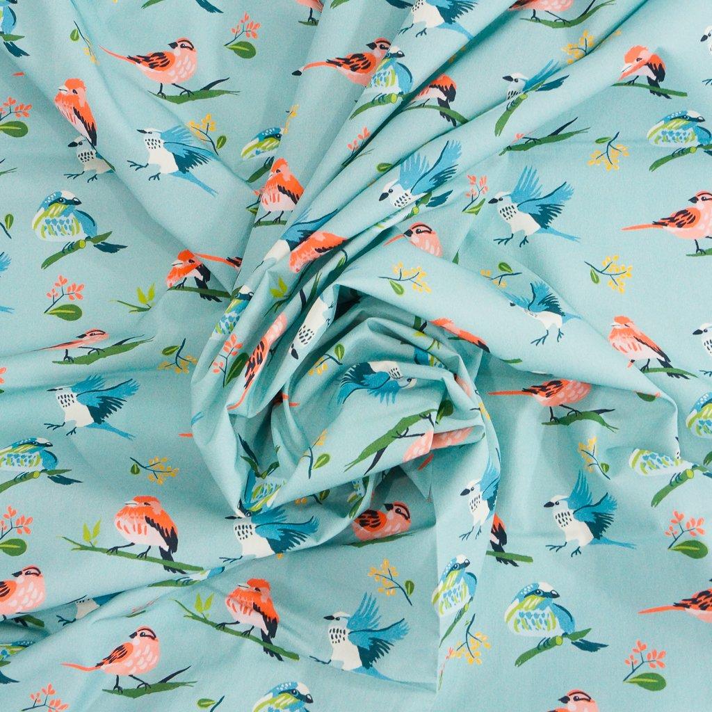 Organic Cotton Poplin - Flock in Robin's Egg Blue