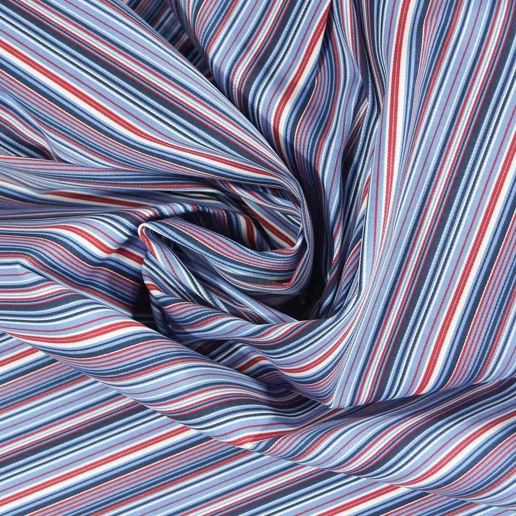 Stretch Twill - 70s Red, White, Blue Stripe
