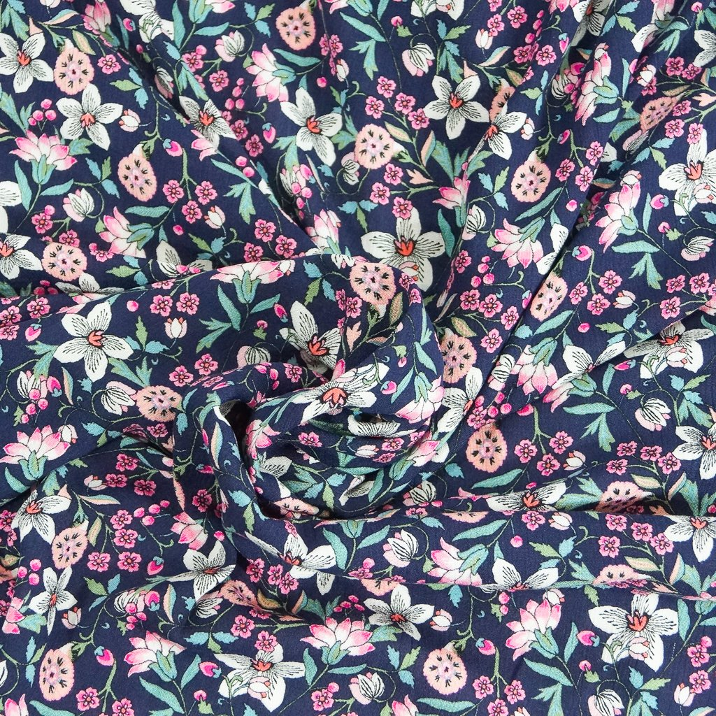 Rayon - Navy with Pink Floral Crepe